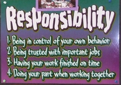 students responsibility Personal responsibility, particularly as it relates to study skills, is taking charge of one's own learningit implies completing assignments on time, studying for tests, taking the responsibility for one's own learning mistakes or failures, and performing to the best of.
